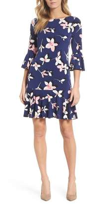 Eliza J Floral Bell Sleeve Dress (Regular & Petite)