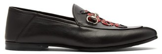 Gucci Brixton Kingsnake Embroidered Leather Loafers - Mens - Black Multi