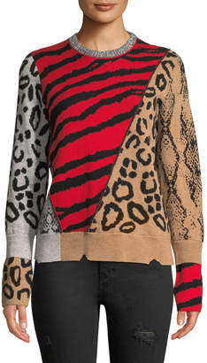 Zadig & Voltaire Delly Animal-Print Wool-Cashmere Pullover Sweater