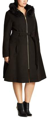 City Chic Plus Miss Mysterious Hooded Coat