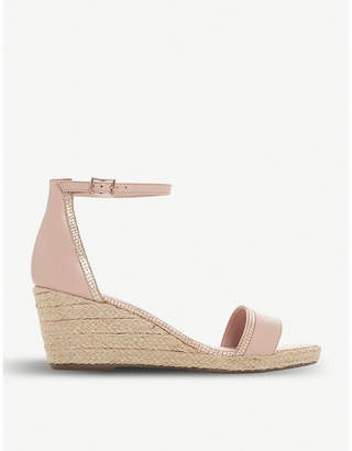 Dune Espadrille mid-wedge leather sandals
