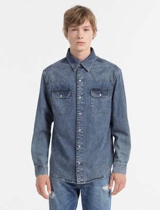 Calvin Klein regular fit blue stonewash denim western shirt