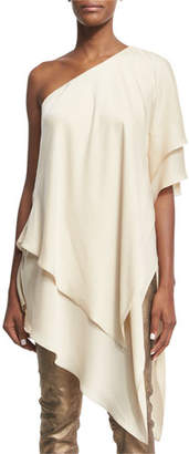 Ralph Lauren Collection Leora Tiered One-Shoulder Top, Beige $1,490 thestylecure.com