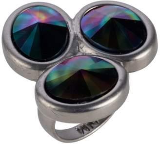 Nadia Minkoff - Oval Triple Ring Matt Gunmetal Rainbow Dark