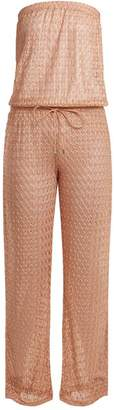 Melissa Odabash Grace Strapless Crochet Knit Jumpsuit - Womens - Pink
