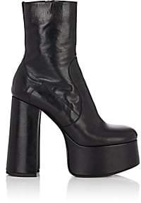 Saint Laurent Women's Billy Leather Platform Ankle Boots - Black