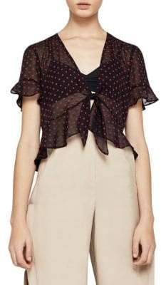 BCBGeneration Tie-Front Dot Ruffled Top