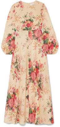 Zimmermann Laelia Floral-print Linen Maxi Dress - Neutral
