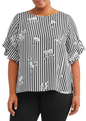 Lifestyle Attitudes Women's Plus Elbow Sleeve Printed Blouse