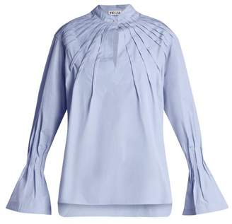 DAY Birger et Mikkelsen TEIJA Pintucked bell-cuff cotton blouse