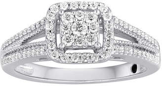 MODERN BRIDE I Said Yes 3/8 CT. T.W. Diamond Framed Platinaire Engagement Ring