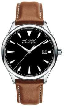 Movado Men's Heritage Stainless Steel Tongue Buckle Strap Watch - Brown Black