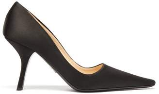 Prada Angular Heel Satin Pumps - Womens - Black