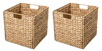 Foldable Hyacinth Storage Basket with Iron Wire Frame By Trademark Innovations (Set of 2)