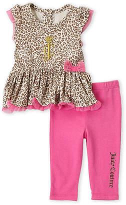 Juicy Couture Newborn Girls) Two-Piece Leopard Print Top & Leggings Set