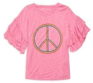 Design History Girl's Peace Ruffle Sleeve Tee