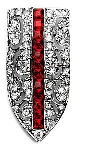 Kenneth Jay Lane Crystal Crest Pin: Ruby
