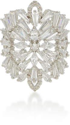 Fallon Monarch Deco Medallion Rhodium And Crystal Ring