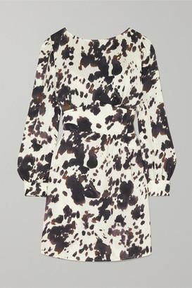 ALEXACHUNG Gathered Cow-print Satin-twill Mini Dress - Ecru