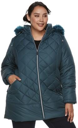 Details Plus Size Hooded Quilted Walker Jacket
