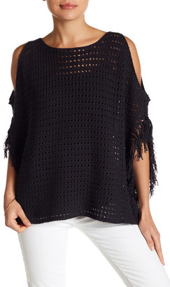 Minnie Rose Salsa Open-Knit Cold Shoulder Sweater $196 thestylecure.com