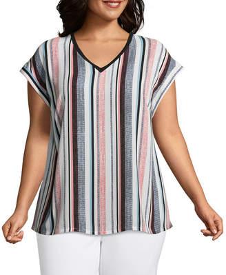 WORTHINGTON Worthington Short Sleeve Printed V neck Woven Blouse - Plus