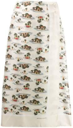 Bottega Veneta tropical print midi skirt