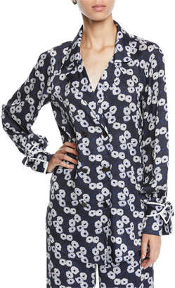 Lela Rose Double-Breasted Floral-Print Shirt w/ Tie Cuffs