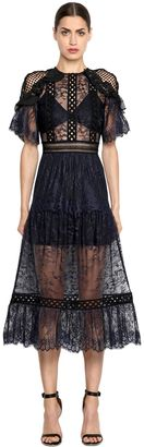 Frill Shoulder Fine Lace Dress $445 thestylecure.com