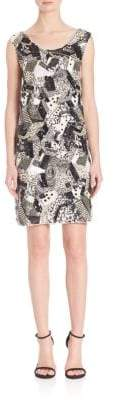 Laundry by Shelli Segal PLATINUM Geometric Sequin Beaded Dress