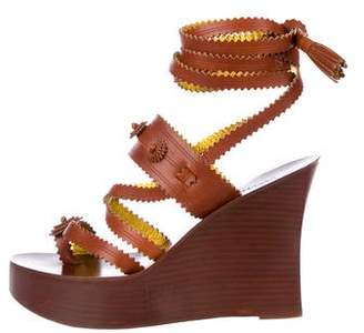 Jean Paul Gaultier Leather Wrap-Around Wedges