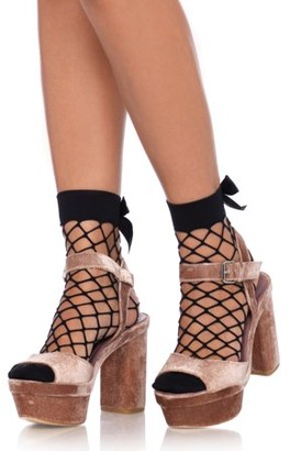 Leg Avenue Women's Diamond Net Anklet Socks, Black, O/S
