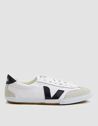 Veja Volley Canvas Sneaker in White/Black