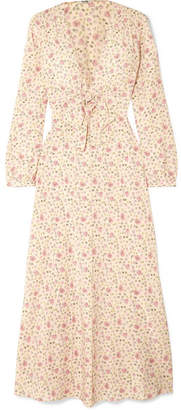 Miu Miu Floral-print Silk Crepe De Chine Dress - Peach