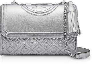 Tory Burch Metallic Leather Fleming Small Convertible Shoulder Bag