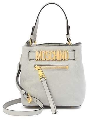 Moschino Leather Top Handle Bucket Bag
