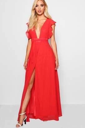 boohoo Kady Ruffle Wrap Detail Woven Maxi Dress
