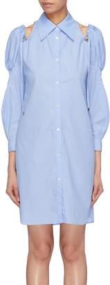 Akiko Aoki Puff sleeve cold shoulder shirt dress