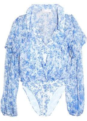 Caroline Constas Ruffle-Trimmed Printed Silk-Chiffon Bodysuit