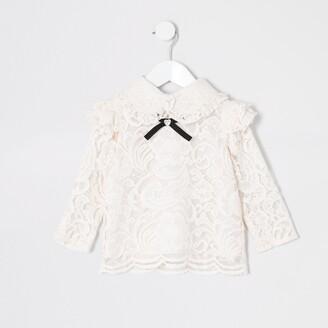 River Island Mini girls Pink lace bow collar top