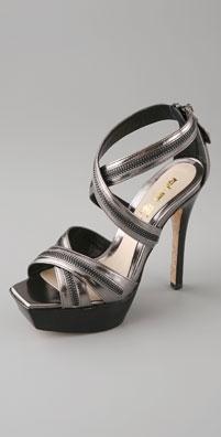 L.A.M.B. Metallic Shauna Platform Zip Sandal