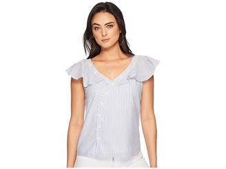 1 STATE 1.STATE Asymmetrical Button Front Blouse w/ Ruffle