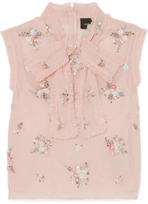 Needle & Thread Rainbow Ditsy Embellished Ruffled Tulle Top - Blush