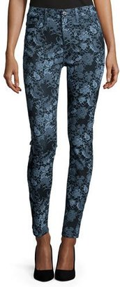 7 For All Mankind The High-Waist Skinny Jeans, Blue Floral $198 thestylecure.com