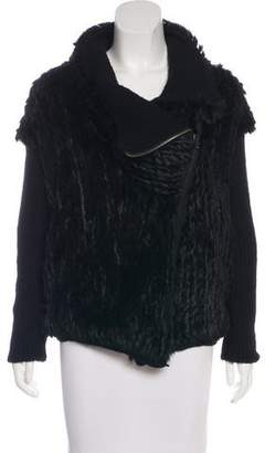 Helmut Lang Wool & Cashmere Knit Rabbit Fur Jacket
