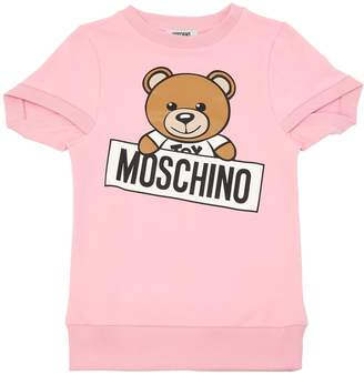 Moschino Teddy Bear Print Cotton Sweatshirt Dress