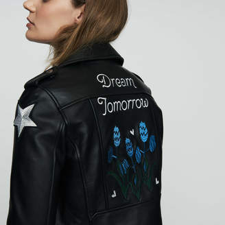 Maje Embroidered leather jacket