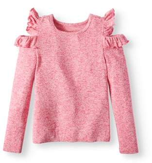 Derek Heart Ruffled Cold Shoulder Sweater Knit Top (Big Girls)