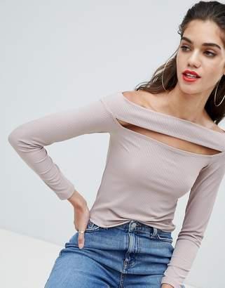 Asos Design Going Out Slash Neck Bardot Top With Long Sleeve