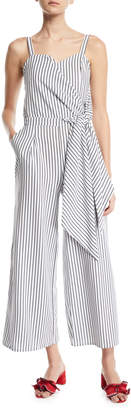 Madisonne Sleeveless Wrap-Front Striped Jumpsuit